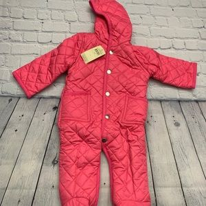 New Leveret Quilted Baby Snowsuit Pink 9 Months